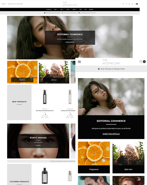 A highly-configurable theme, designed to drive conversions and optimised for catalogues of all sizes. With a breadth of easy-to-configure modules and advanced features ranging from editorial mode to animated page elements, Covent Garden offers endless design possibilities.