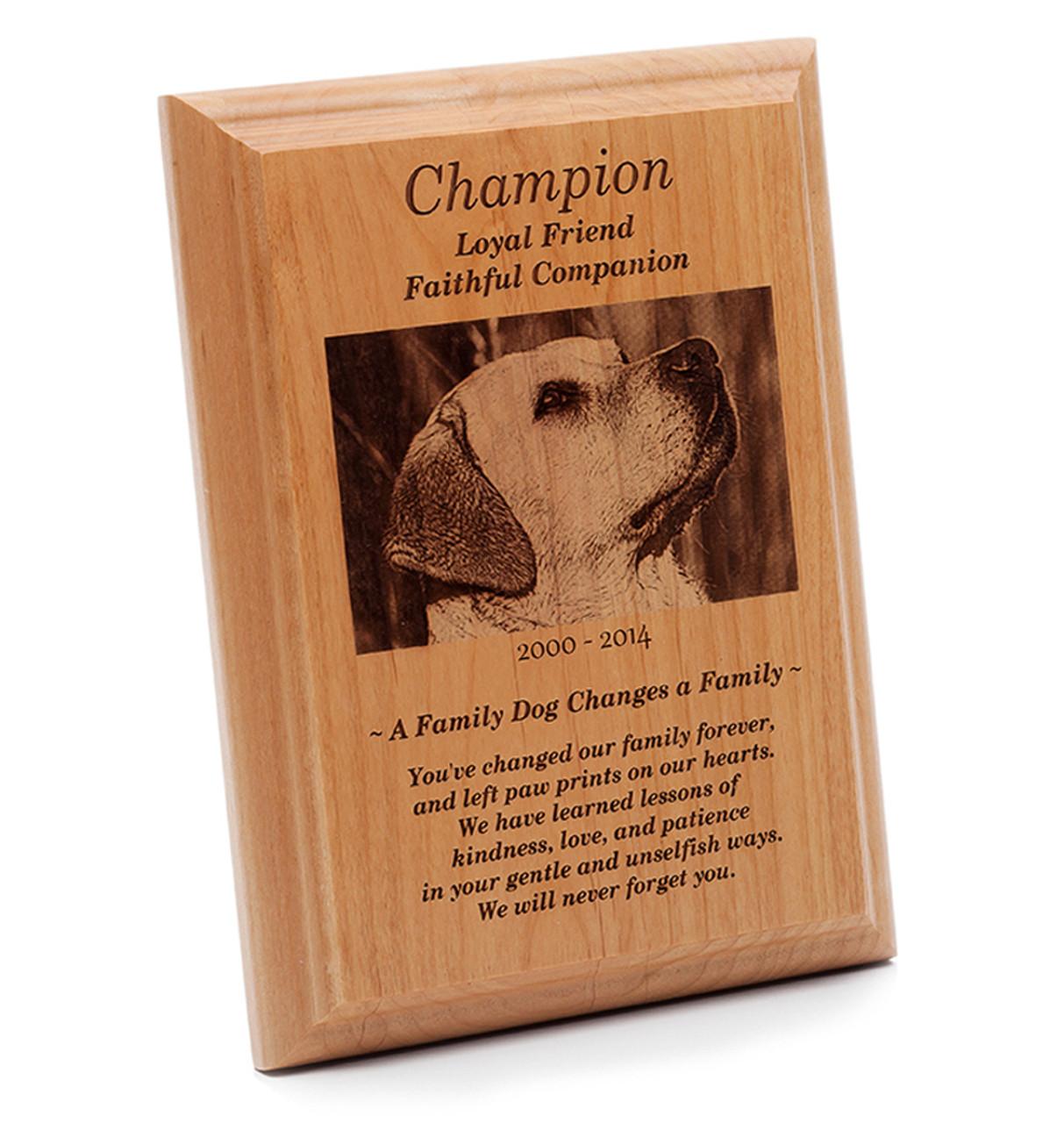 custom engraved pet memorial plaque natural wood