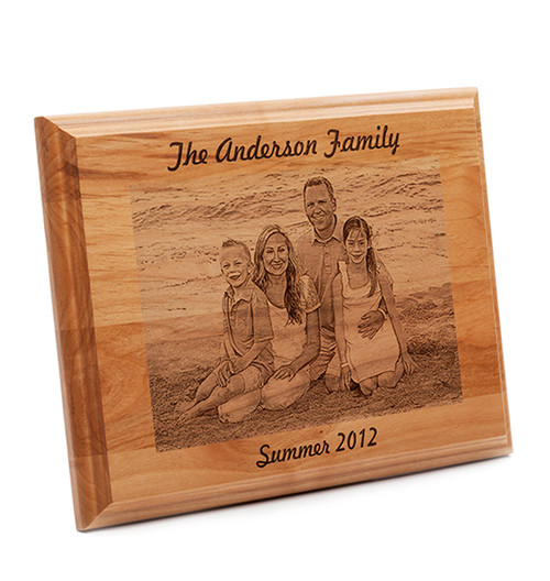 Engraved family photo on alder wood plaque