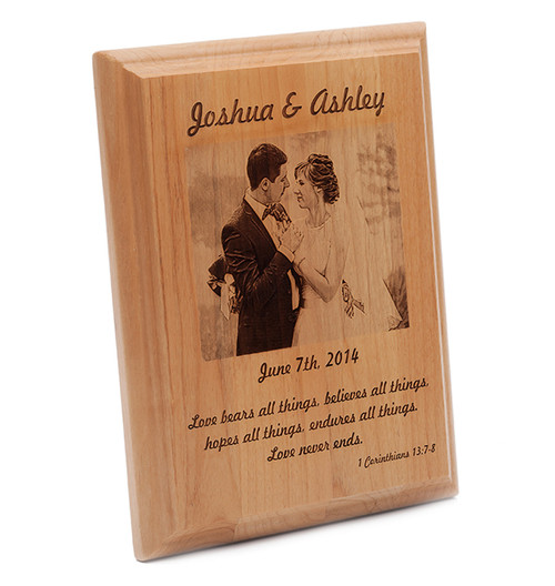 Laser engraved alder wood plaque with bride and groom