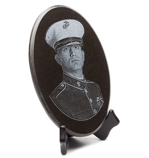 Oval shaped granite plaque with laser engraved portrait