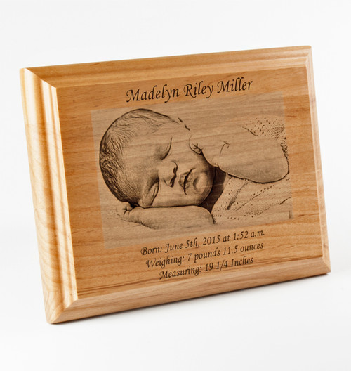 Engraved wood baby dedication photo plaque