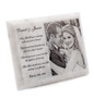White marble plaque with laser engraved photo of wedding couple