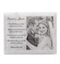 White marble photo plaque laser engraved front view wedding poem