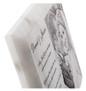White marble laser engraved plaque closeup edge detail