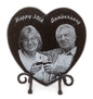 Granite Photo Plaque, heart shaped, with metal display stand