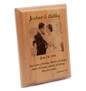 Laser engraved alder wood plaque with bride and groom