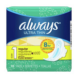 Always Ultra Thin Regular Maxi Pads With Wings - 10ct