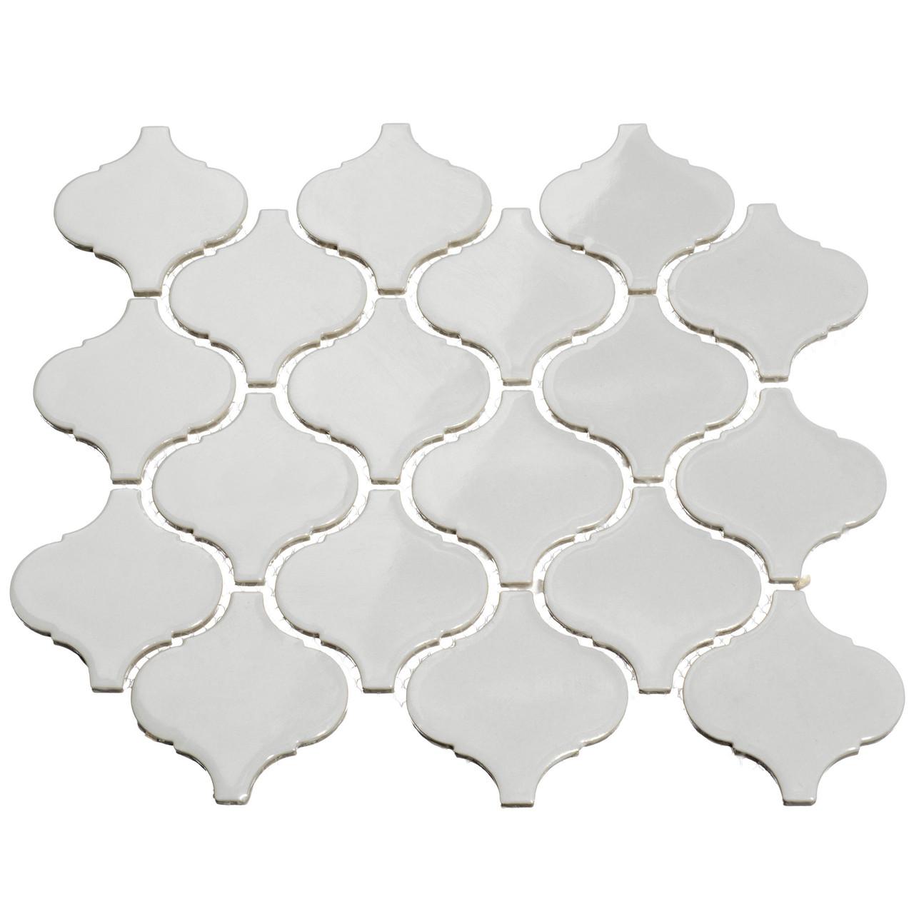 - Giorbello Porcelain Arabesque Tile, Light Gray
