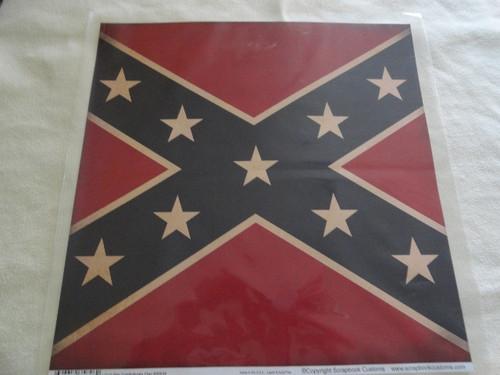 Civil War Confederate Flag 12x12 Scrapbook Paper