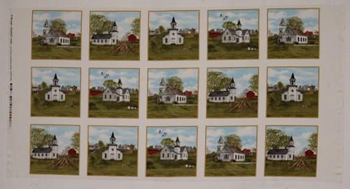Church Scenes Cotton Fabric Panel