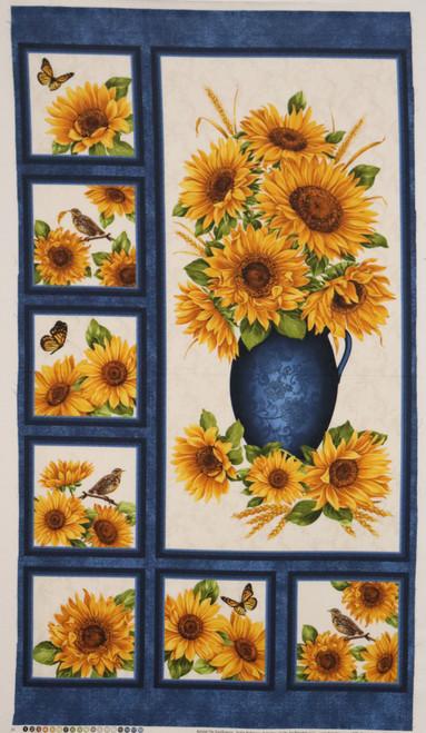 Sunflowers, Birds and Butterflies Fabric Panel