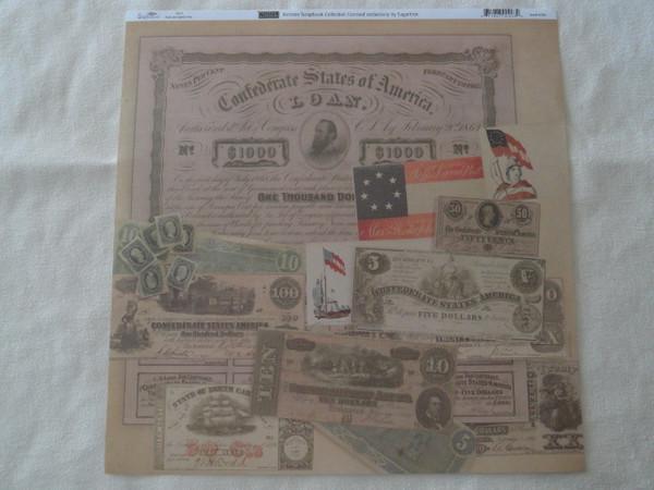 Confederate Currency 12x12 Scrapbook Paper