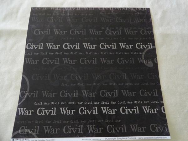 Civil War Words Scrapbook Paper