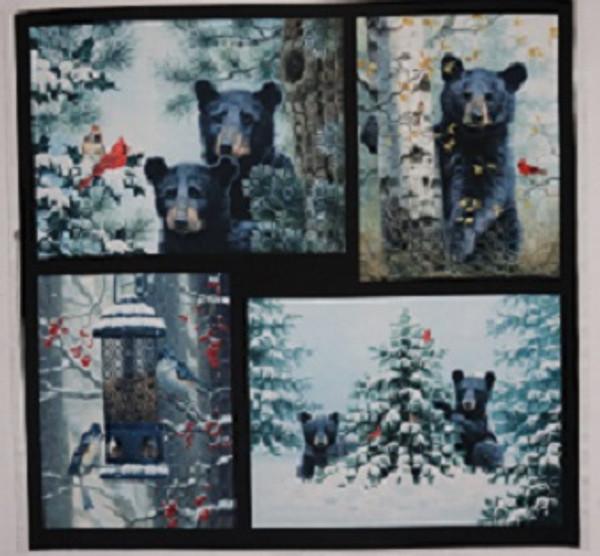 Beary Best Friends Winter Bears Fabric Panel