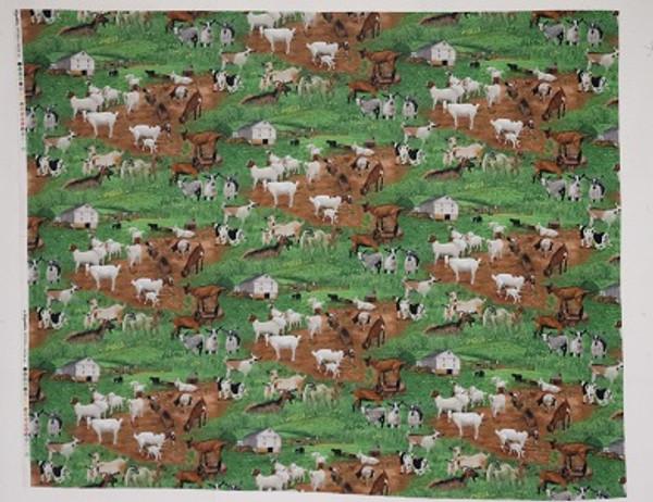 Goat Farm yard Cotton Fabric