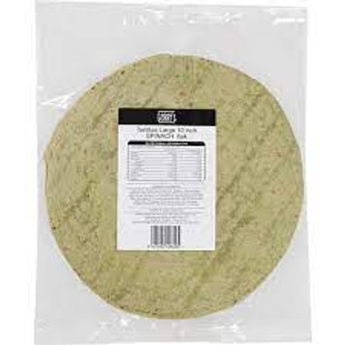 """Spinach Tortillas 10"""" 6 Pack"""