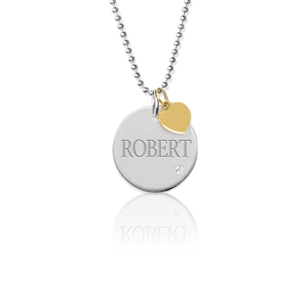 Engraved Disc Charm with Diamond on 16″ Chain
