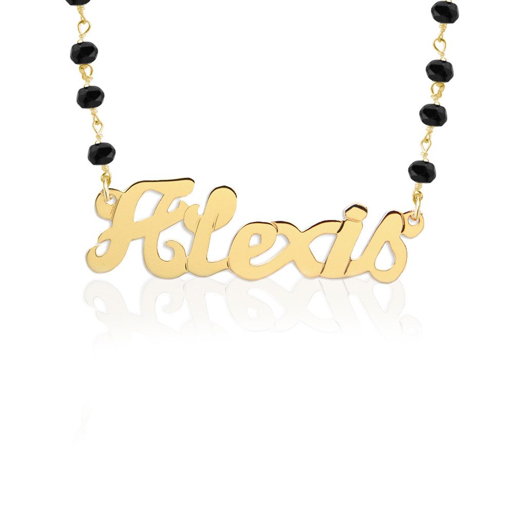 Script Nameplate on Gemstone Chain