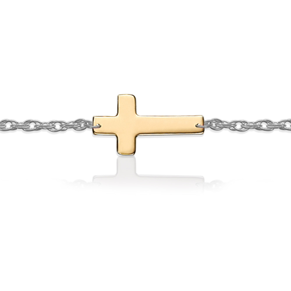 Gold Cross on Sterling Silver Bracelet