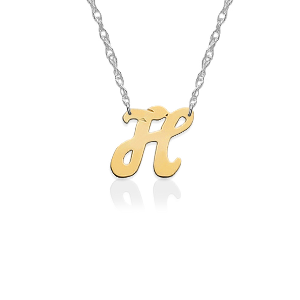 Gold Script Initial on Sterling Silver Necklace