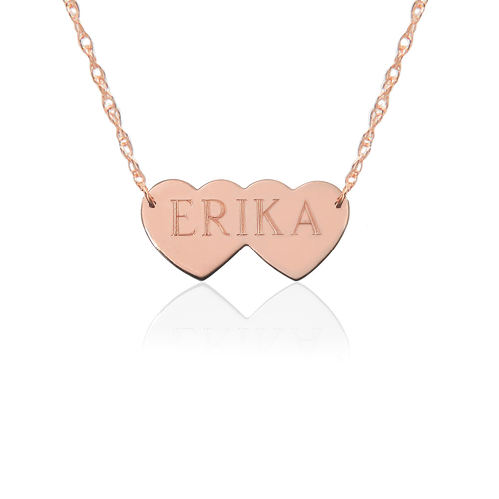 Gold Double Hearts & Engraved Name