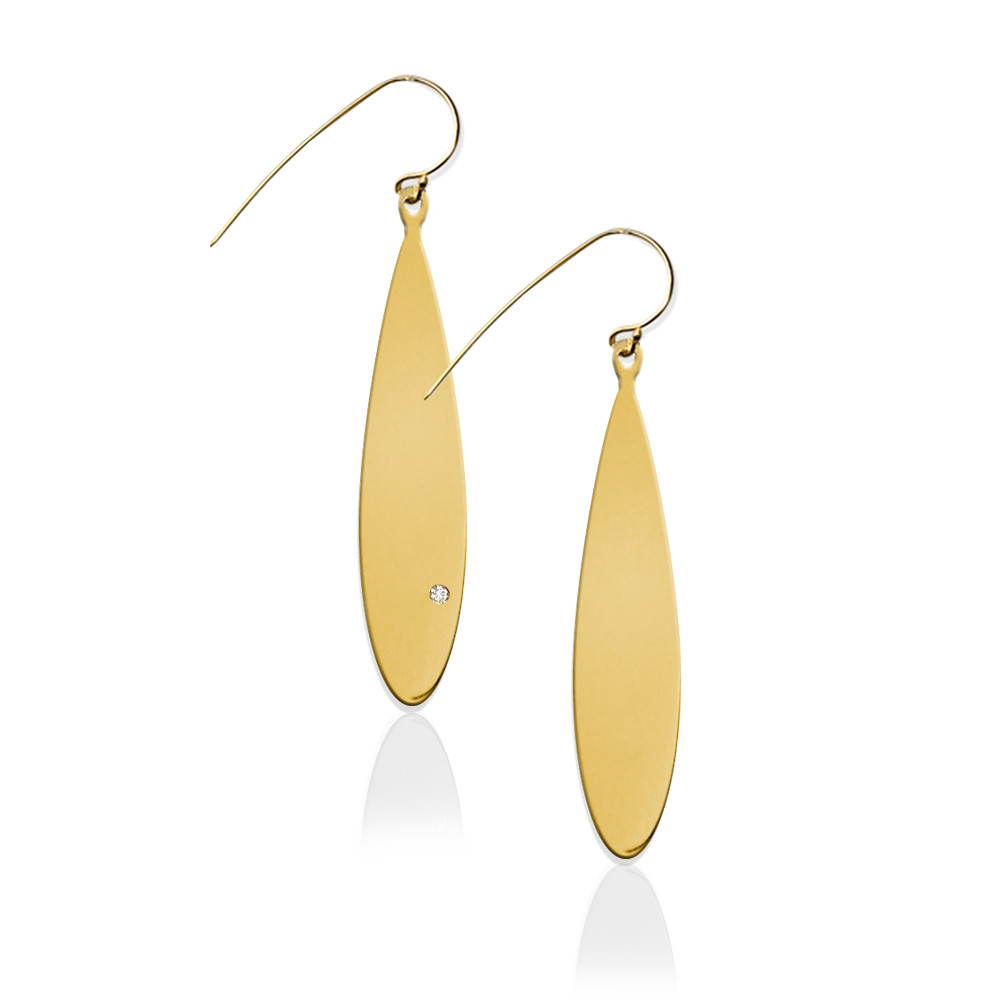 JBD355 Long Oval Earrings with Diamond Accent