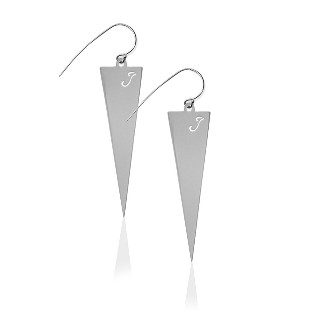 JBD356 Triangle Earrings with Pierced Initial