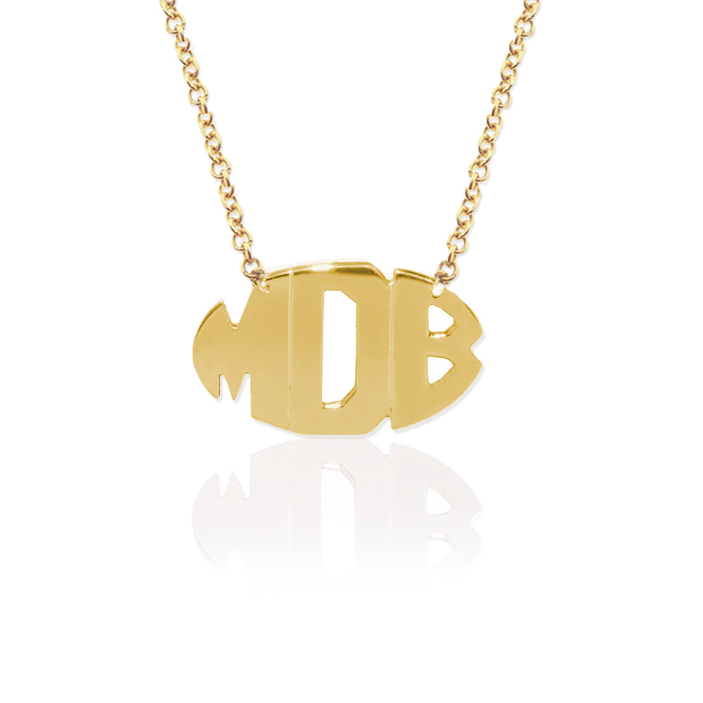 Gold Delicate 3 Initial Oval Block Monogram