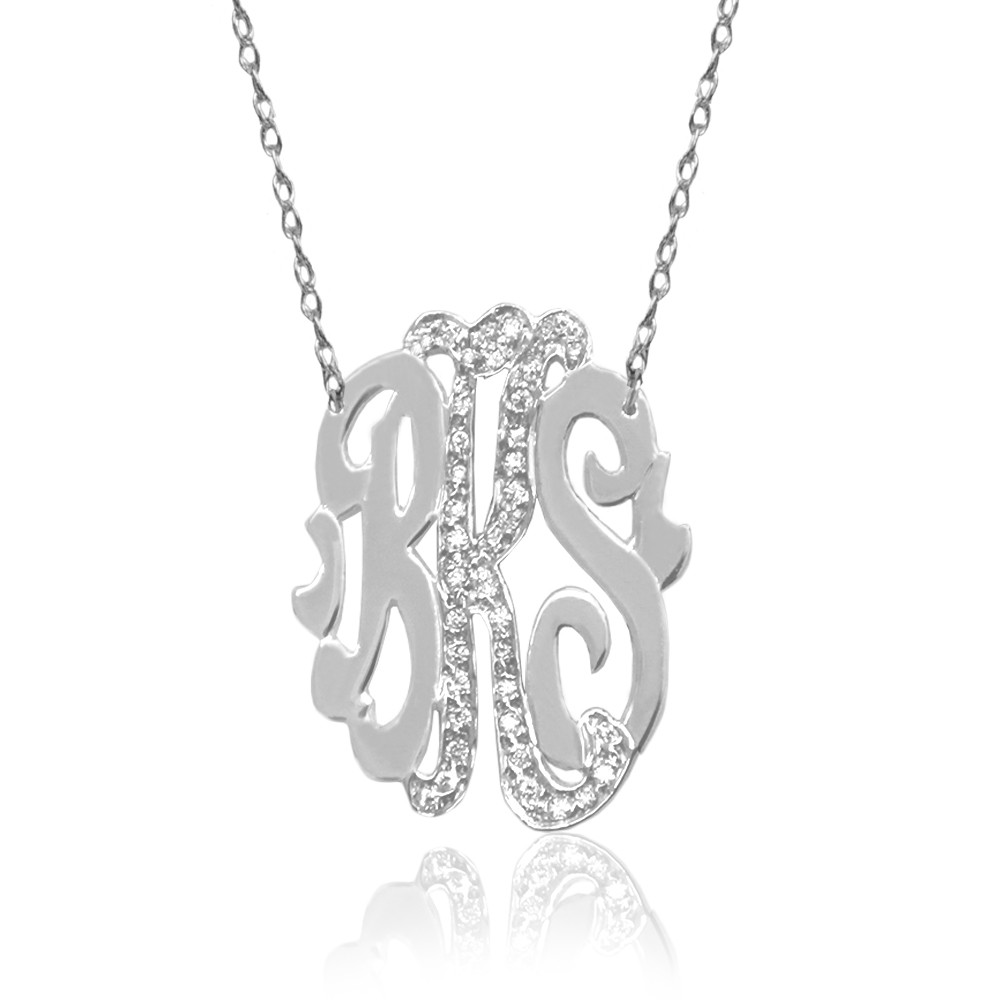 Three Initial Oval Monogram With Diamonds