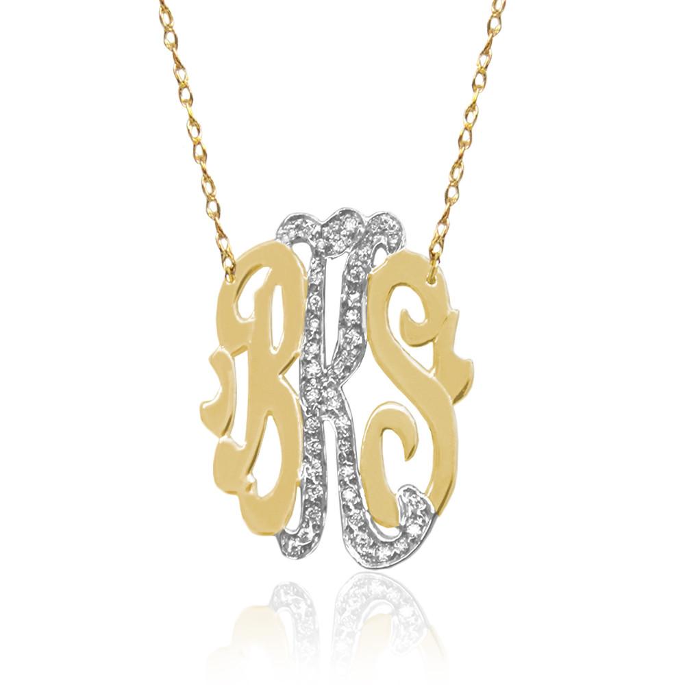 Three Initial Oval Monogram With Diamonds
