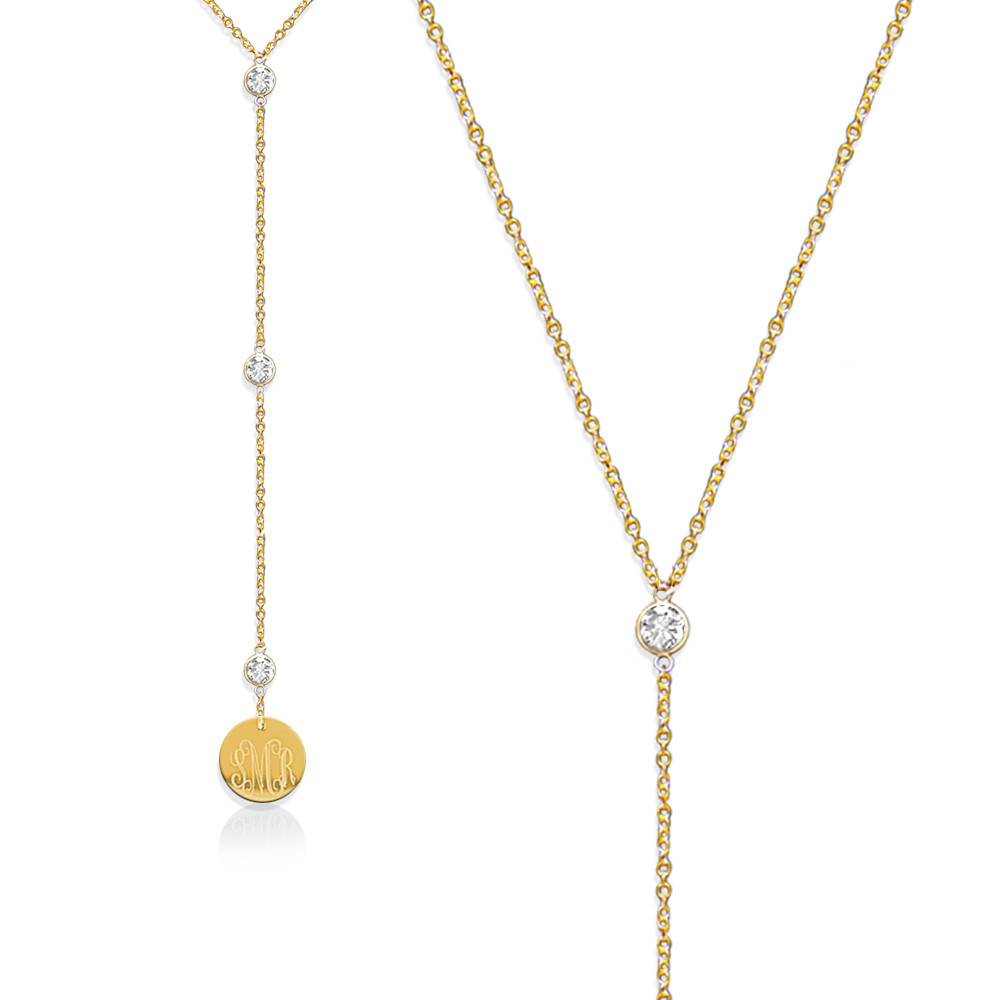 Lariat Necklace with CZ Accent and Monogram Disc