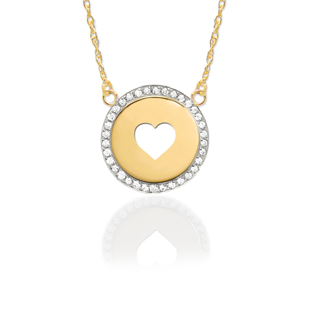 Gold Pierced Heart Disc with Diamond Border
