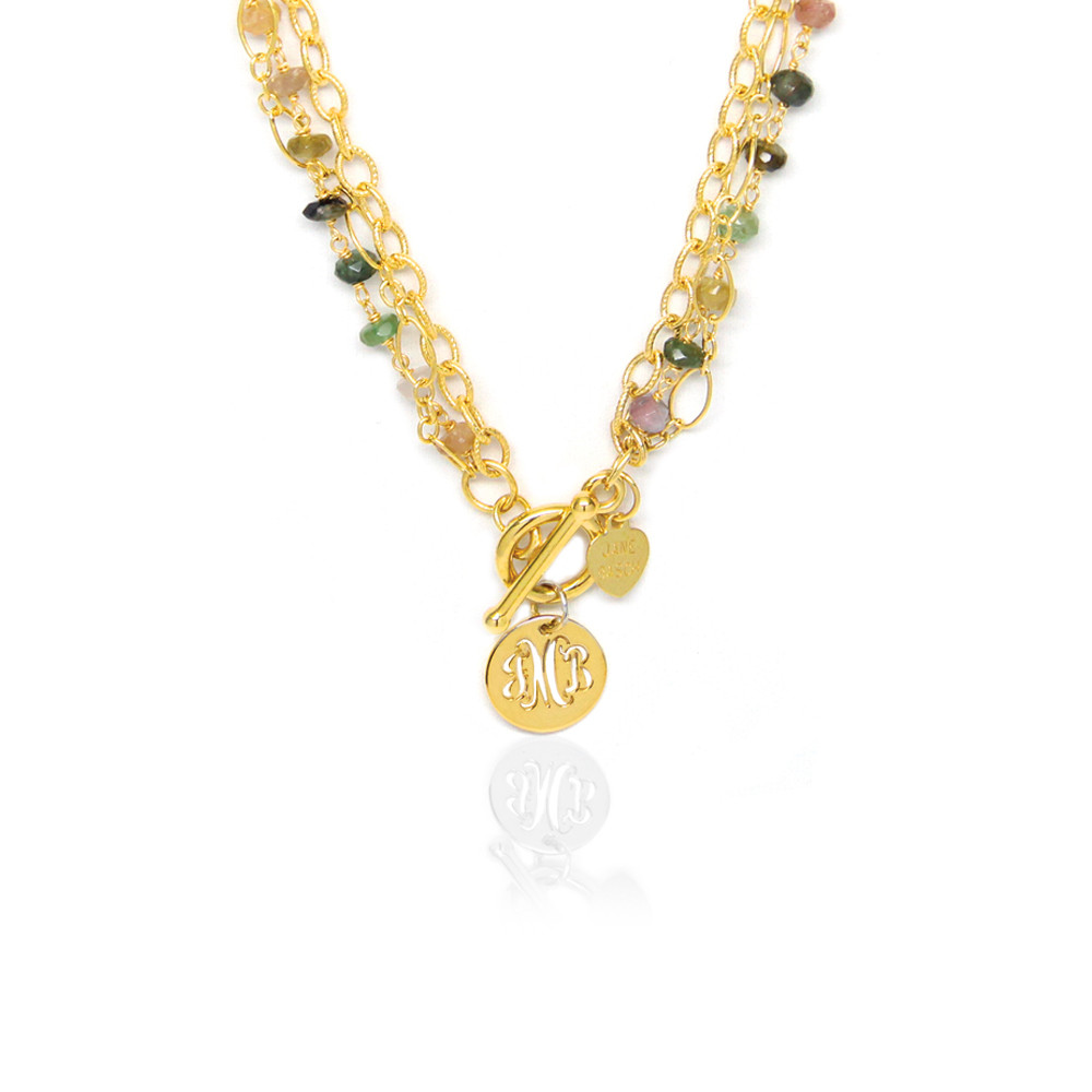 Pierced Disc Monogram Multi-Strand Necklace