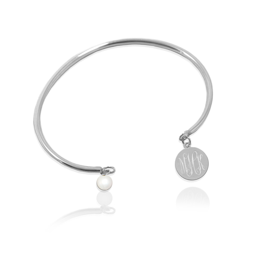 Wire Bracelet with Script Monogram Disc and Pearl