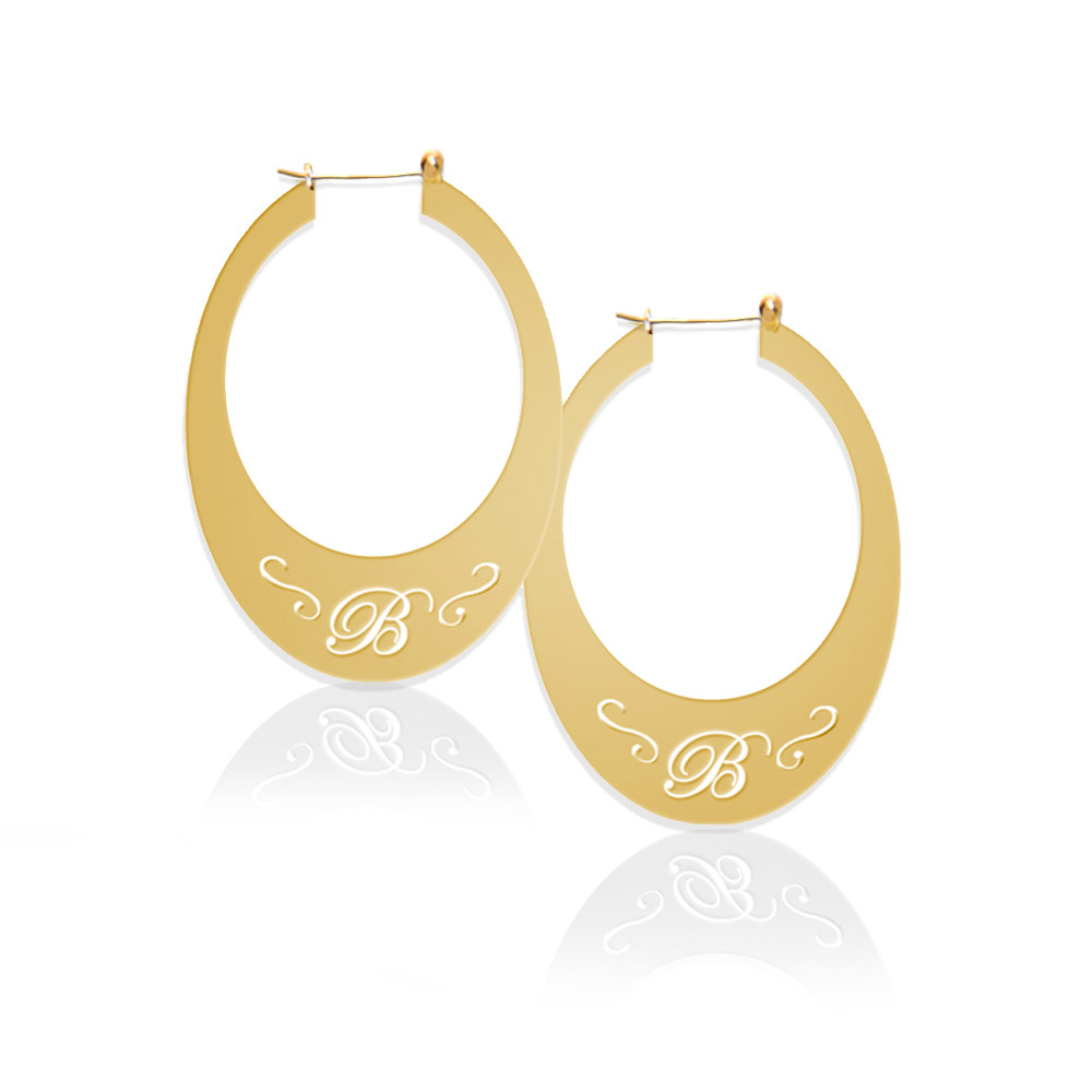 Oval Hoop Earrings with Pierced Initial
