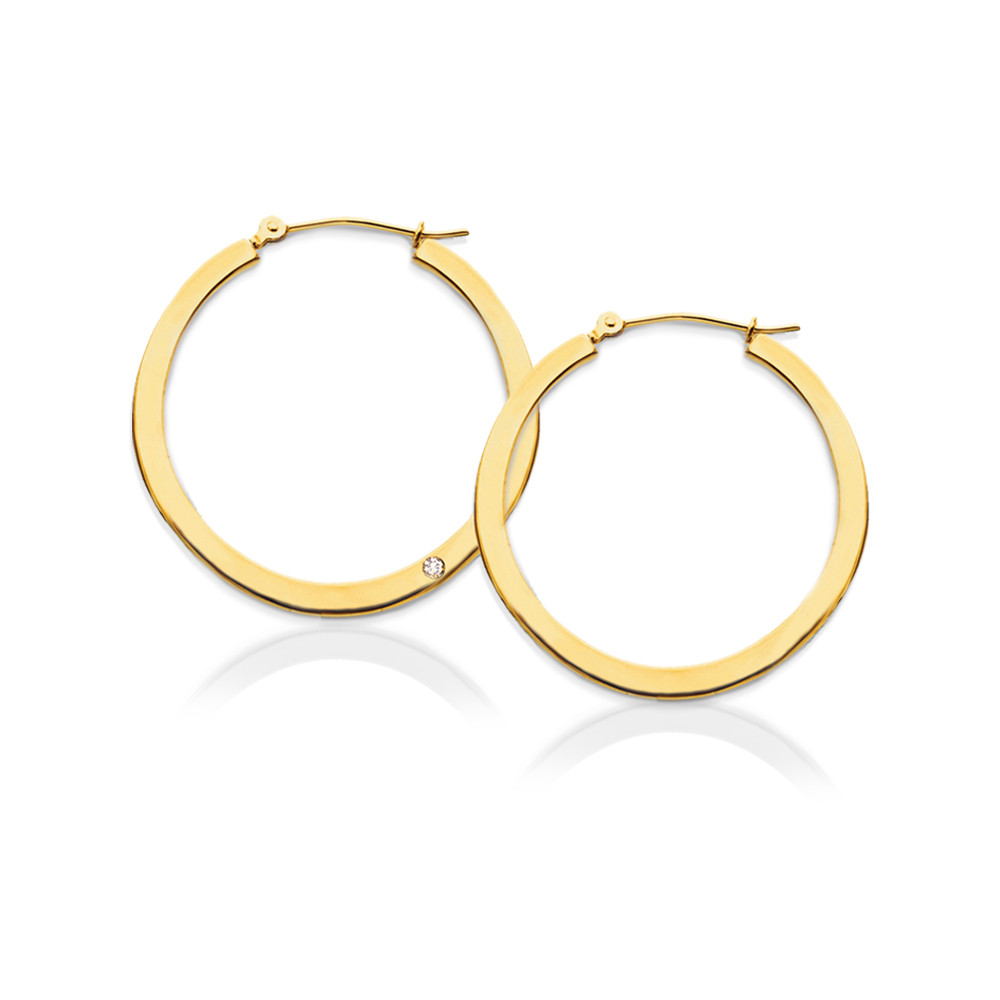 Flat Hoop Earrings with Diamond Accent