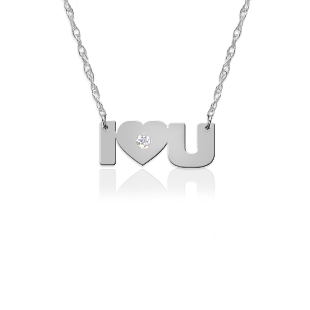 """I""""LOVE""""YOU in 14K White Gold"""