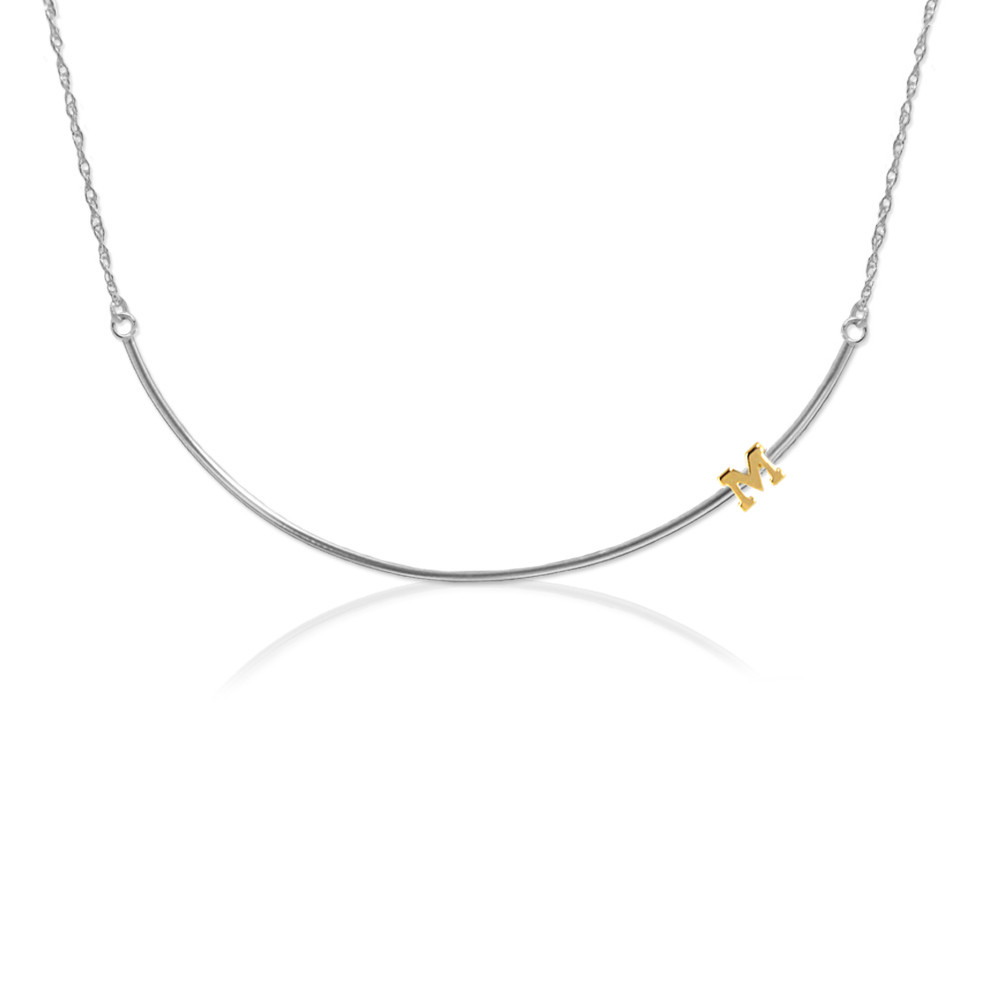 Gold Block Initial on a Sterling Silver Wire Bar