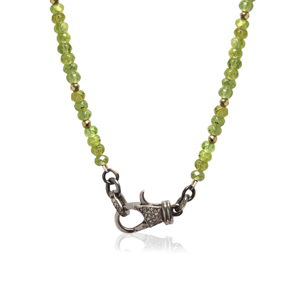 .925 Sterling Silver Diamond Lock on Peridot Beaded Chain