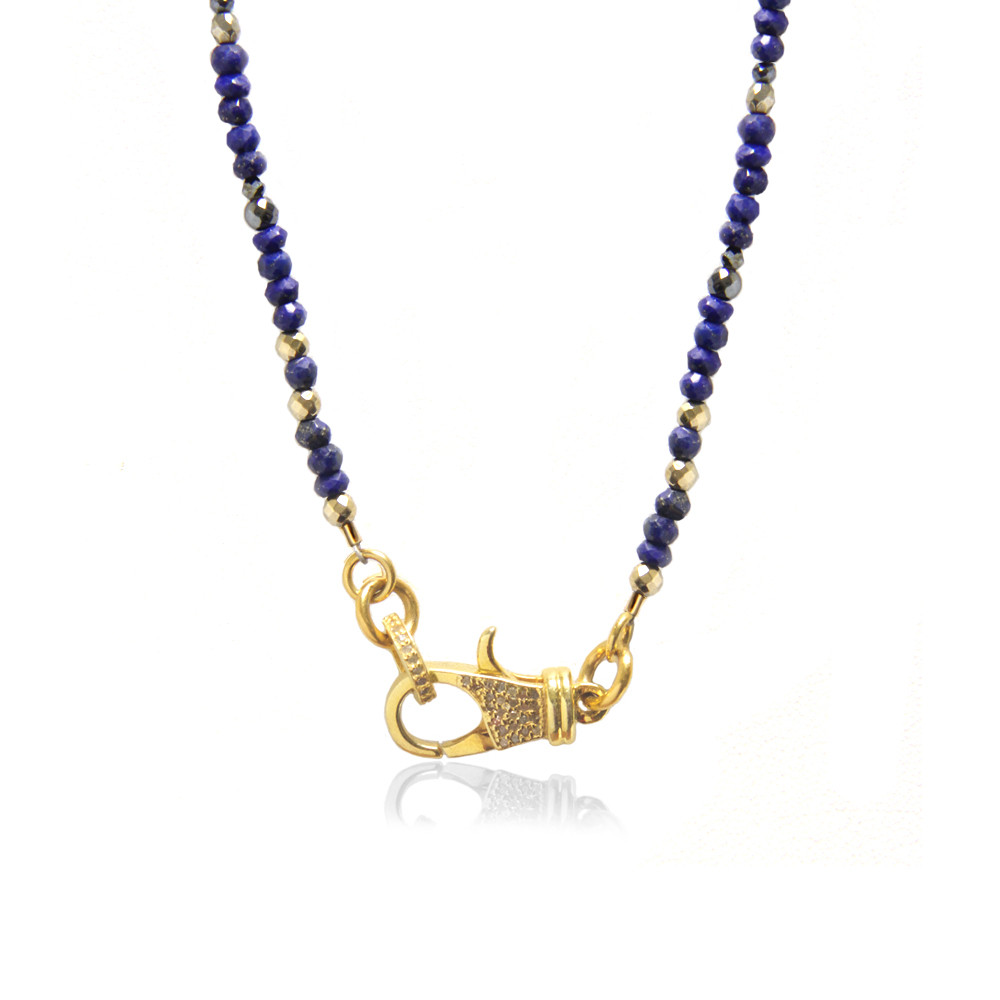 22K Gold over Sterling Silver Diamond Lock on Sodalite Beaded Chain