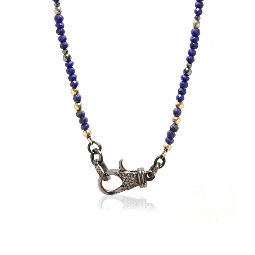 .925 Sterling Silver Diamond Lock on Sodalite Beaded Chain