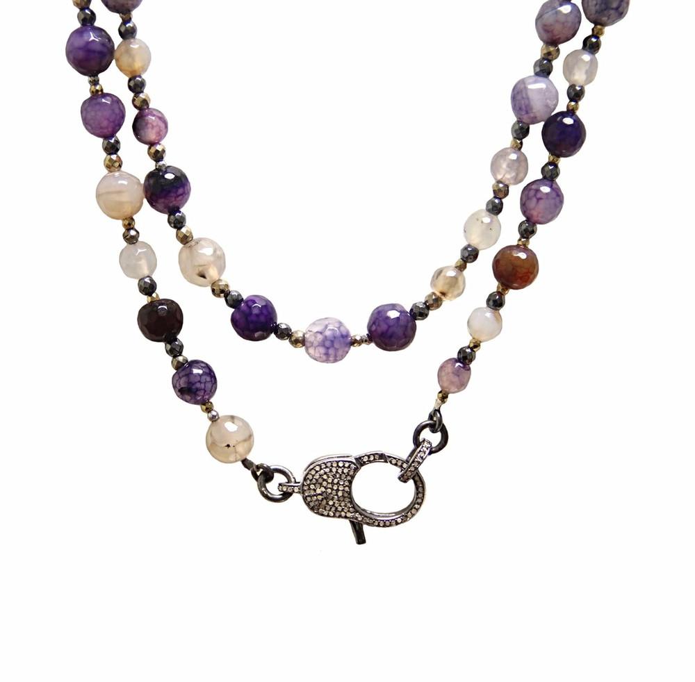 "Wear It 3 Ways 36"" Viola Agate & Pavé Diamond Lock Necklace"