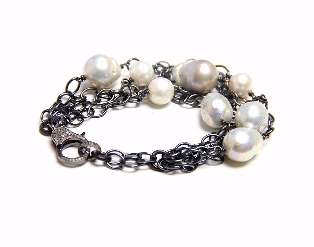 Multi-Strand Pavé Diamond Lock & Baroque Pearl Bracelet