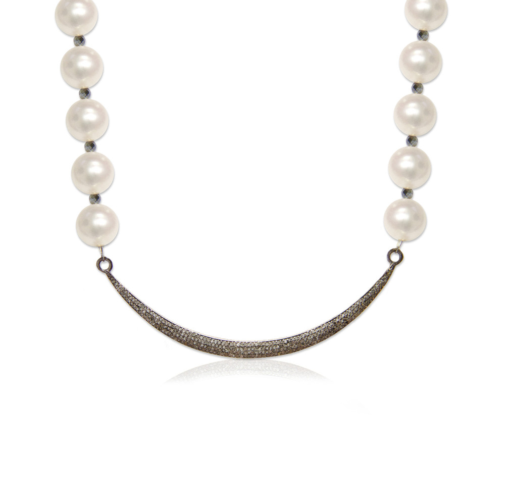 Pavé Diamond Moon & Pearl Necklace
