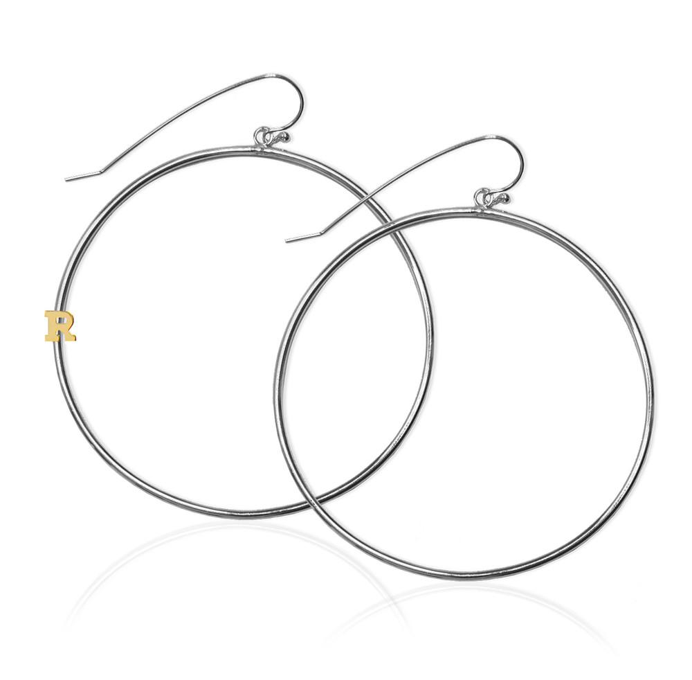 "2 3/8"" Sterling Silver Hoop Earrings and 14K Gold Initial"