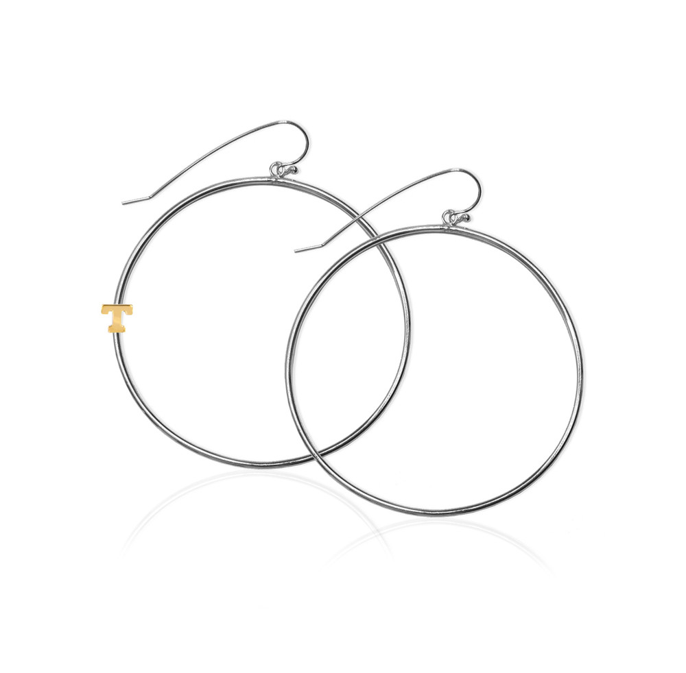 "1 3/8"" Sterling Silver Hoop Earrings and 14K Gold Initial"