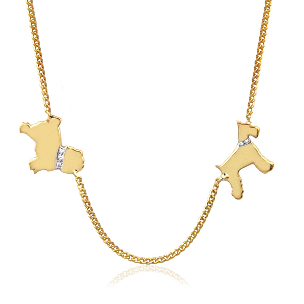 Two Dog Necklace with Diamond Accent Collar and Engraved Names