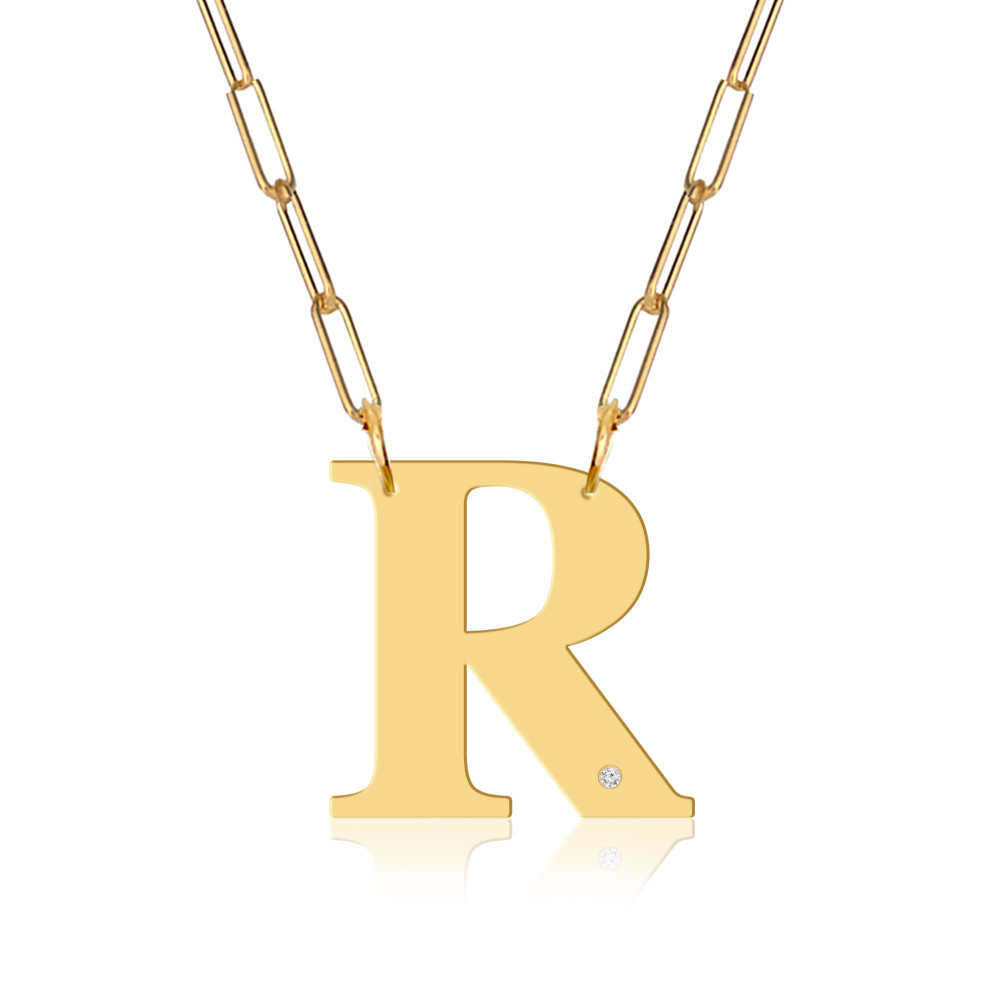 Block Initial & Diamond Accent On Paper Clip Necklace