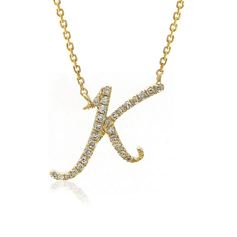 14K Gold Fancy Script Diamond Initial
